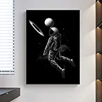 面白いアートキャンバスプリントポスター、宇宙でバスケットボールをする現代の家族の寝室の装飾ポスター、キャンバスアートポスター、リビングルームの壁アート画像フレームなし-B_50X70CM