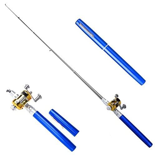 HaiMa Bolígrafo Portátil Tipo Bolsillo Flexible Caña De Pesca con Tambor Carrete - Azul Océano