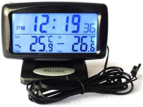 TXYFYP 2 in 1 Auto Kit Elektronische Uhr Thermometer, Digitalanzeige, Innen und Außen Doppel Temperatur Abmessen Werkzeug mit Hintergrundbeleuchtung Funktion - Schwarz, Free Size
