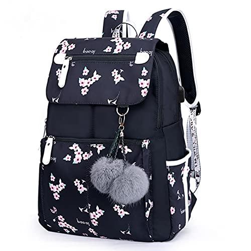 zhihui Mochila escolar para niña y adolescente, para portátil de 15,6 pulgadas, resistente al agua, con carga USB, 20 l, mochila escolar elegante para niñas y niños