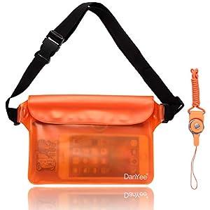 Danyee 防水ポーチ IPX8取得済み 3重チャック PVC素材 (ブルー) 海水浴 プール 釣り バイク ウエストバッグ 防水パック 防水 携帯 (オレンジ)