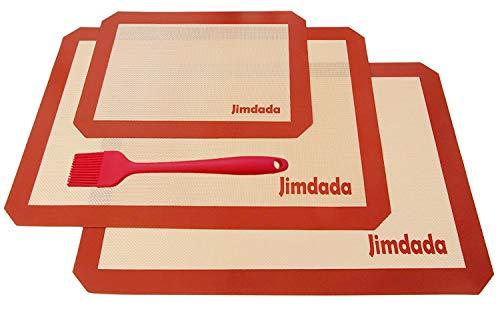 Tapis de Four et Cuisson en Silicone Platine pour Pâtisserie Résistant à la Chaleur et Anti-Adhérent, Set de 2 Plaques de Cuisson Jimdada Large (42 x 29.5 cm) et 1 Moyenne (30 x 20 cm), BROSSE CADEAU