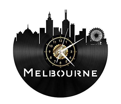 ZBBSHOP Wanduhr Melbourne City Series Wahrzeichen Landschaft Ecke Schallplatte Uhr Retro Led Beleuchtung Vinyl Wanduhr Wohnzimmer Dekor Geschenk Keine Led Lichter 12 Zoll