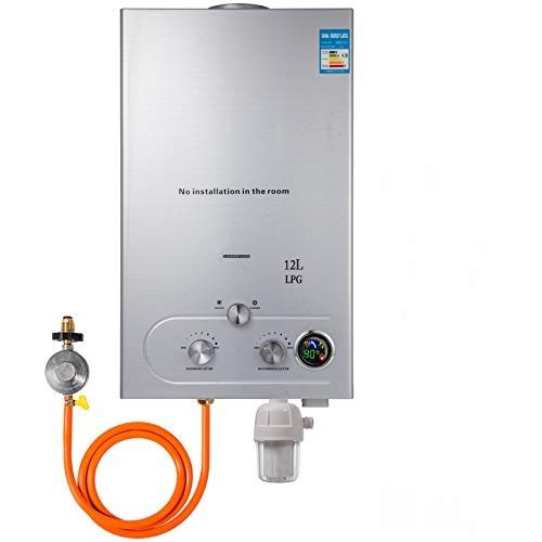 VEVOR Scaldabagno a gas LPG 12V 24 KW tipo Upgrade Senza Serbatoio con Kit Soffione Doccia Filtro Acqua e Regolatore Gas Con Digitale LCD Liquefatto Scaldabagno A Gas LPG (12L)