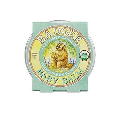 Badger - Baby Balm, Chamomile & Calendula, Certified Organic Baby Balm, Cradle Cap Balm for Babies, Baby Rash Balm, Baby Skin Care, 2 oz by Badger