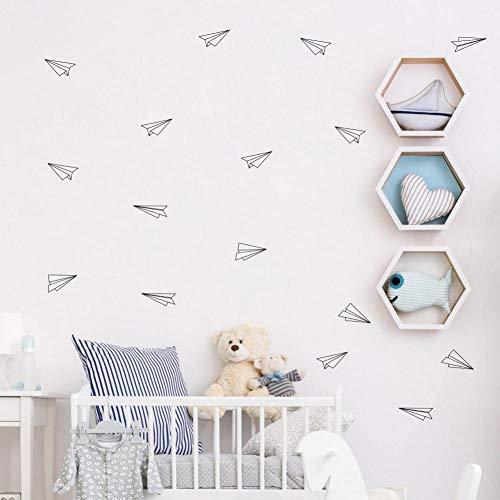 Origami geométrico avión calcomanías de pared decoración del arte del cuarto de niños, vuelo geométrico vinilo pegatinas de pared de vinilo sala de estar 5.9x4.6cm 16 pcs