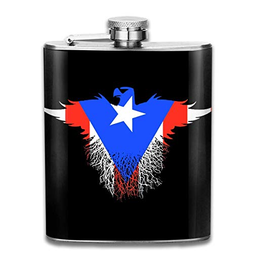 Petaca de acero inoxidable con diseño de águila de Puerto Rico, resistente al desgaste, 198,4 ml, para licor, whisky, vino y bandera