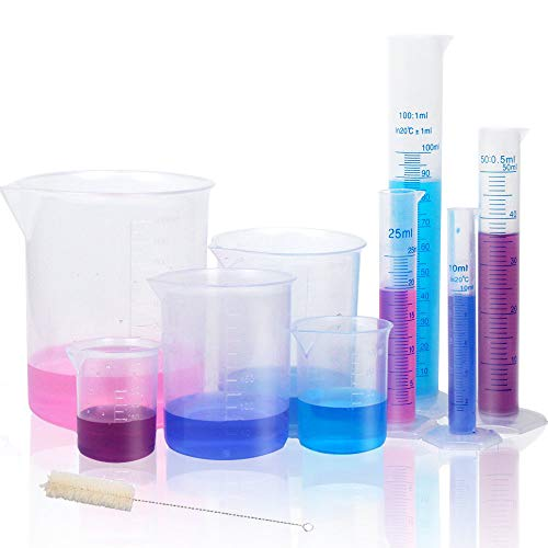 APLANET 4 Transparent Plastic Graduated Cylinders, 10ml, 25ml, 50ml, 100ml, with 5 Plastic Beakers and 1 Test Tube Brush, Ideal for Home and School Science Lab