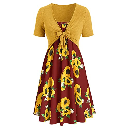 XWBO Plus Size Two Piece Outfits for Dresses Women,Fashion Bowknot Bandage Top Sunflower Plus Size Summer Dresses (XL,Yellow Red)