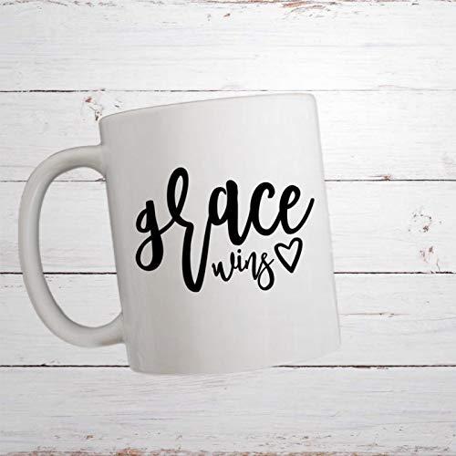 Grace Wins Taza de café Pastor Taza cristiana Regalo religioso Regalo de la Biblia Verso Regalo de la Escritura Taza de la fe Taza de la gracia gana 11 oz Divertida taza de café de cerámica wt183