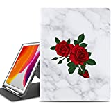 iPad 10.2 Case,iPad 7 Case 10.2 inch with Pencil Holder,ZADORN iPad Case with Smart Stand and Fashionable Floral Flower Designs for Kids Women Girls [Auto Sleep/Wake] White Marble and Roses