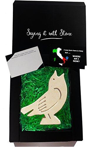 Vatertag Geschenk Vogel aus Stein Handgemacht in Italien - Symbol der Hoffnung, des Glücks, der hellen Zukunft, des ändernden Glücks und der neuen Anfänge - Box und Nachrichtenkarte enthalten
