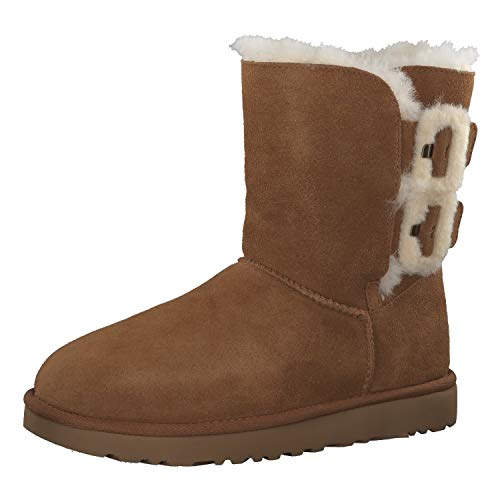UGG Damen Boots Bailey Fluff Buckle 1104183 Chestnut 39