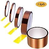 Ruban adhésif haute température, 3 m de ruban kapton haute température, 5 rouleaux de 5 tailles (5 mm x 33 m, 8 mm x 33 m, 10 mm x 33 m, 20 mm x 33 m, 50 mm x 33 m, à la chaleur jusqu'à 280 °C.