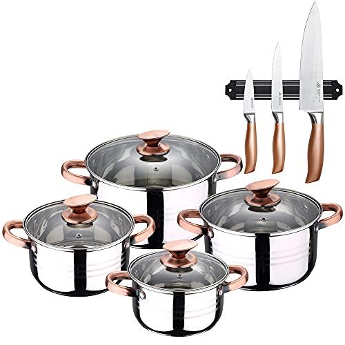 San Ignacio Bateria de cocina 8 piezas apta para induccion Altea en acero inoxidable con set de 3 cuchillos en acero inoxidable con barra magnetica aptas para induccion, PK3238