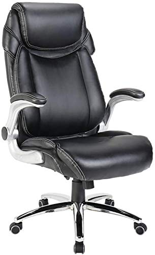 High Back Leather Office Chair - Adjustable Tilt Angle and Flip-up Arms Executive Computer Desk Chair Thick Padding for Comfort