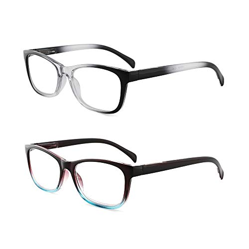 OQ CLUB 2-Pack Mujer Gafas lectura bisagra resorte