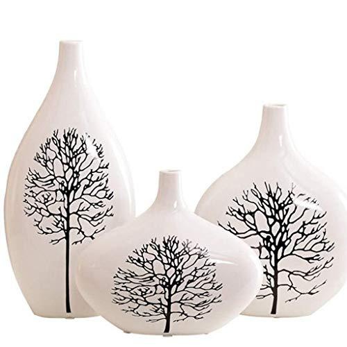 RSWLY Adorno de cerámica Arreglo Floral Cerámica Pintada a Mano Florero Decoración de gabinete de Vino de Tres Piezas