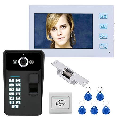Videoportero, intercomunicador, RFID, huella digital, contraseña, timbre de video con cable, monitor de 7 pulgadas + cámara de seguridad con visión nocturna + cerradura de puerta eléctrica