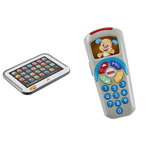 Fisher-Price CDG57 - Lernspaß Tablet, Kindertablet und Lernspielzeug & DLD32 Lernspaß Fernbedienung Lernspielzeug mit +35 Wörter Liedern und Sätze mit Lautstärkeregler, ab 6 Monaten deutschsprachig