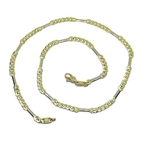 Cadena para Mujer de Oro Blanco y Oro Amarillo de 18k Tipo Gargantilla de 45cm de Larga y 4mm de Ancha. Cierre mosquetón Grande para máxima Seguridad. Peso, 14.35gr de Oro de 18k