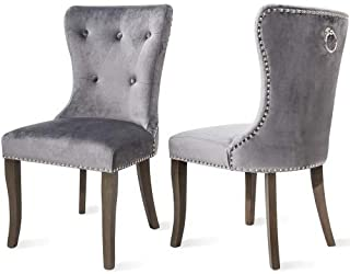 Victorian Dining Chairs Button Tufted Armless Velvet Upholstered Accent Chair, Nailhead Trim, Chair Ring Pull Set of 2 (Grey)