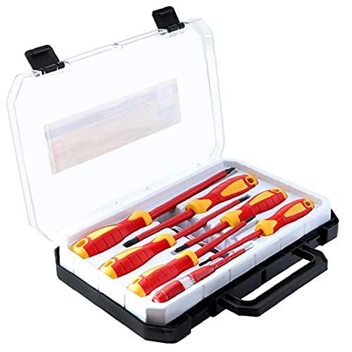 Aislamiento del destornillador del kit de herramientas Manual de 1000V Phillips ranurado destornilladores con verificador de seguridad lleva la caja de electricista Rojo