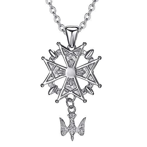 BOBIJOO Jewelry - Pendentif Collier Homme Médaille Croix Huguenote Protestant Acier 316L Argenté Chaîne