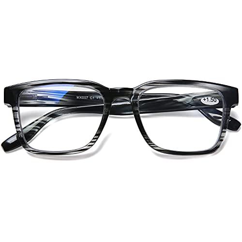 DOOVIC Occhiali da Lettura Luce Blu +3.0 Nero con Montatura Quadrata a Righe Occhiali da Computer per Uomo/Donna