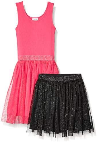 Spotted Zebra Girls Kids Knit Sleeveless Tutu Tank Dress and Skirt Set Dark Pink Black Sparkle product image