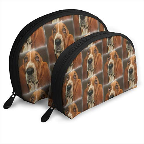 Baset Hound Portrait Customized Portable Bags Clutch Pouch Storage Bag Cosmetic Bag Purse Travel Storage Bag Shell Shape One Big and One Small for Women