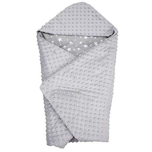 TupTam Baby Sommer Einschlagdecke für Babyschale, Farbe: Sterne Weiß/Grau, Größe: ca. 75 x 75 cm