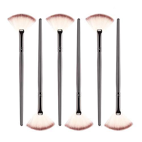 Rocutus 12pcs Professional Fan Makeup Brush,Slim Fan Brush Face Powder Foundation Highlighter Powder Contour Blending Brush for Women