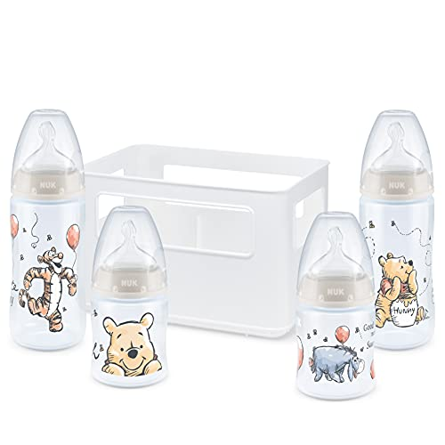 NUK First Choice+ Babyflaschen Starter Set | 0–6Monate | 4Flaschen mit Temperature Control Anzeige & Flaschenbox | Anti-KoliK-Ventil | BPA-frei | Disney Winnie Puuh | 5 Stück