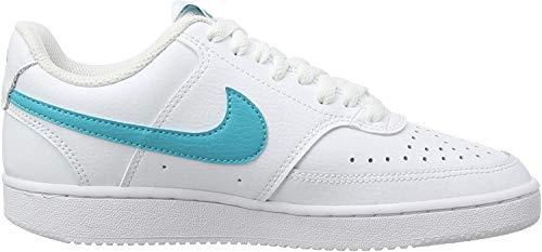 Nike Damen Court Vision Low Sneaker, Weiß (WHITE/ORACLE AQUA-WHITE), 40 EU