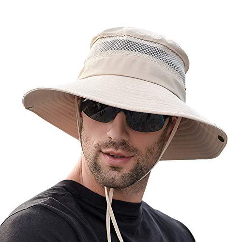 SIYWINA Sonnenhut Herren UV Schutz Safari Hut Sommer Outdoor Fischerhut Buschhut , Beige