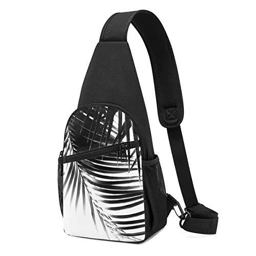 PGTry Palma Hojas Negro Blanco Vibes Decoración Tropical Art Sling Bag Mochila de hombro ligera mochila bandolera mochila bolsa de pecho bolsa cruzada Bolsas de viaje Senderismo mochilas para hombres y mujeres