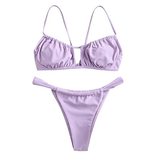 ZAFUL Women's Elastic Strap Ruched Tie Front High Cut Bandeau Bikini Set Swimsuit (A-Lavender Blue, M)