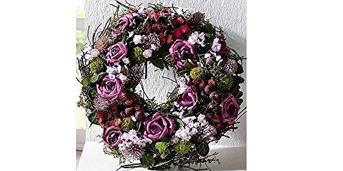 bb10 Schmuck Tischkranz Blumenkranz mit Naturmaterialien und Textilblüten verwendbar auch als dekorativer Türkranz oder Wandkranz