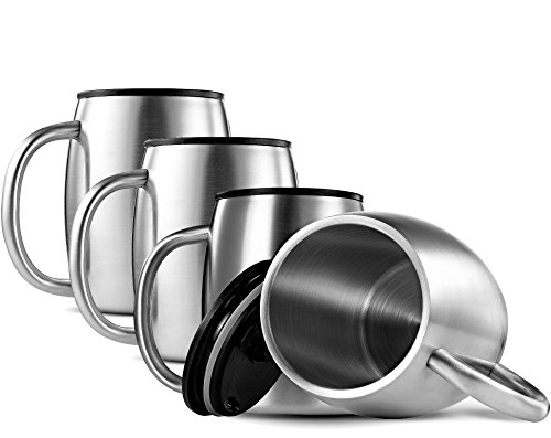 FineDine Double-Wall 18/8 Stainless-Steel Coffee Mugs with Spill-Resistant Lids Insulated Coffee Travel Mug with Comfortable Handle for Hot & Cold Drinks, Shatterproof Coffee Cups, 14 Oz. (Set of 4)