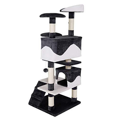 Katzenkratzbaum, Kratzbaum für Katzen 130 cm Höhe (grau / weiß) - 6