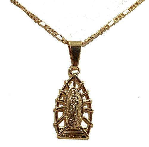 Diamantados of Florida Medalla Virgen de Guadalupe chapada en Oro de 18 Quilates Medalla Enchapada con Cadena de 45 cm
