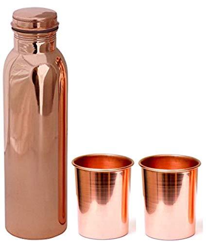 TreegoArt Botella de agua de cobre puro de 1 litro con 2 vasos de cobre de regalo (botella de 1000 ml, cristal de 300 ml)