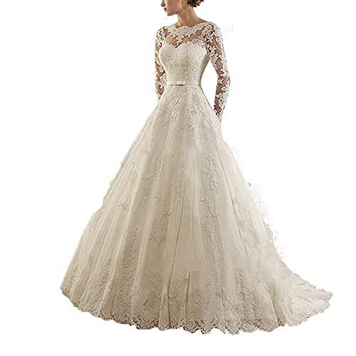 yhfshop Vestido de Fiesta de Dama de,Hilera de Encaje Nupcial de Flores Vestido de Novia de Cola-Beige_40,Mujeres Falda Larga de Cóctel Vestido de