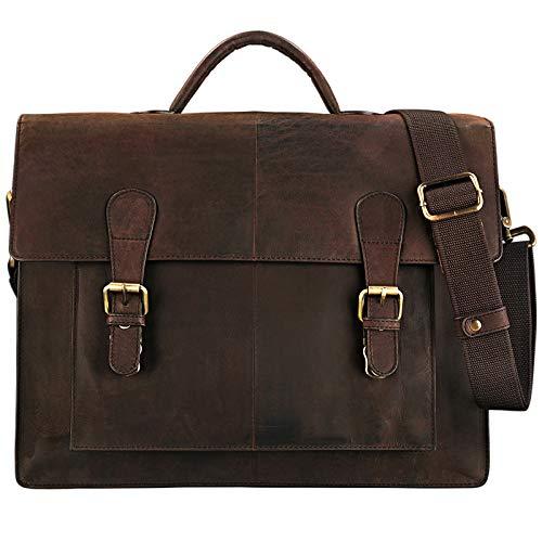 STILORD 'Lorenz' Aktentasche Leder Herren Damen braun zeitlos Klassische große Businesstasche Bürotasche 15,6 Zoll DIN A4 Echtleder Mahagoni - braun