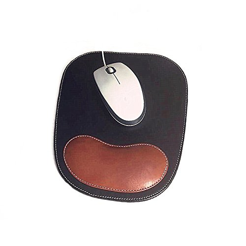 Fosinz Ergonomic Leather Mouse Pad Mat Mousepad with Rest Wrist Support Non-Slip Rubber Base Memory Foam Waterproof Surface for Gaming Office (Brown&Black)