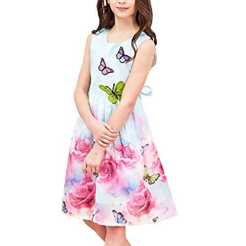 Sunny Fashion Mädchen Kleid Rose Drucken Schmetterling Stickerei Lila Gr. 122