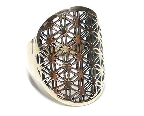 Silberringe, Ring Motiv Blume des Lebens, aus 925 Sterlingsilber filigran gearbeitet, Ringgrößen 57, 61, 64, Geschenk, Schmuck für Frauen