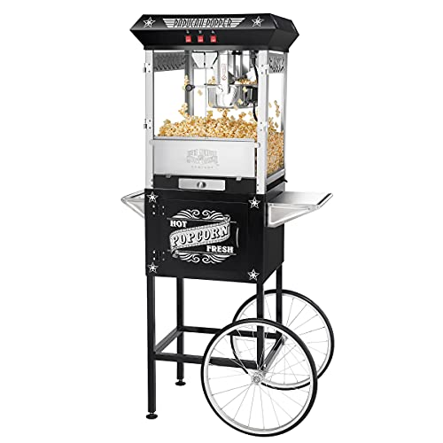 Great Northern Popcorn Black Paducah 8 Ounce Antique Popcorn Machine and Cart