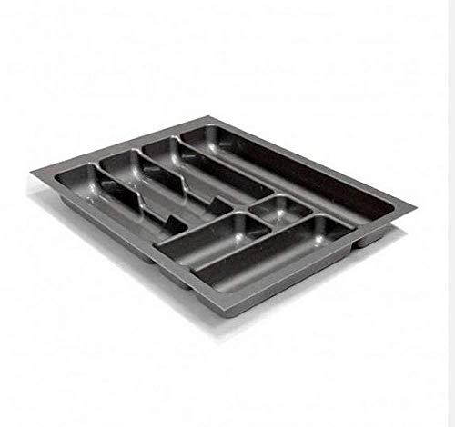 Besteckeinsatz Schubladeneinsatz Besteckkasten Comfort Universal | für 45er Schubladen | zuschneidbar von 358-385 mm | Silbergrau